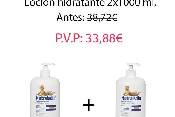 Pack Crema Hidratante Bebé: Nutraisdin loción hidratante corporal 2X1000 ml.